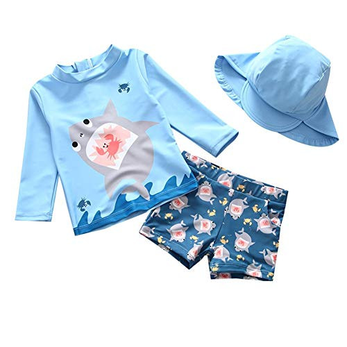 - Baby Boys 3 Piece Blue Swimwear Bathing Suits UV Protection Rash Guard T Shirt Set Shark Pattern Swimwear 90