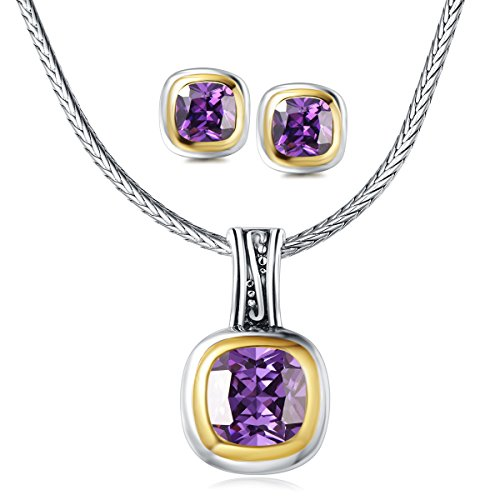 (UNY Jewelry Elegant Wedding Jewelry Sets with CZ Earrings Necklace Set For send his wife a gift (Purple))