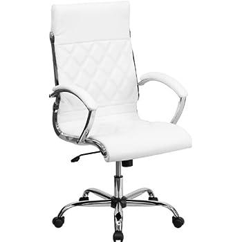 Amazon.com: High Back Designer White Leather Executive Swivel ...