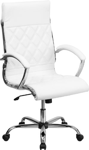 High Back Designer White Leather Executive Swivel Office Cha