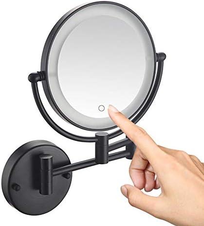 プラグインを搭載タッチスクリーン付き化粧鏡メイクウォールマウント、8インチのLEDライトアップバニティミラー、浴室ブラック用両面リトラクタブルメイクアップミラー、,5X magnification