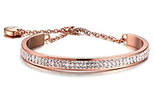 Rose Gold Stainless Steel Bracelet - Stainless Steel 6mm Width 2 Row of Crystal Bangle Cuff Bracelet with Heart Extend Chain for Women ,Gold Rose