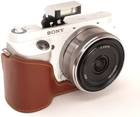 Genuine real COW leather case bag for Sony NEX-F3 NEXF3 camera with18-55mm lens brown color