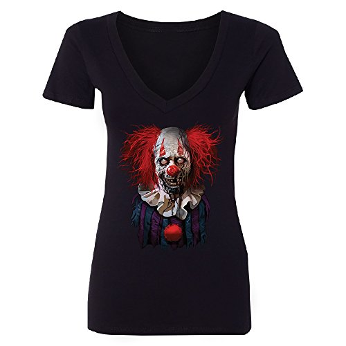 Christmas Ugly Sweater Co Scary Zombie Clown Women Deep V-Neck Scared Fancy Halloween Costume Oct. 31st Black (Oct 31 Halloween Day)