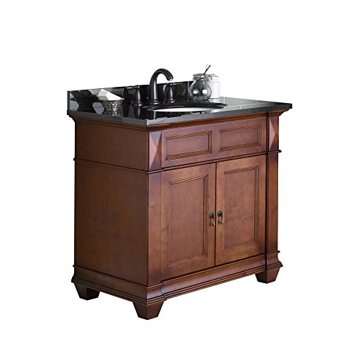 (RONBOW Torino 37 inch Bathroom Vanity Set in Colonial Cherry, Bathroom Vanity with Top and Backsplash in Black, White Oval Undermount Bathroom Sink with 8 inch Widespread Faucet Hole 062836-F11_Kit_2)