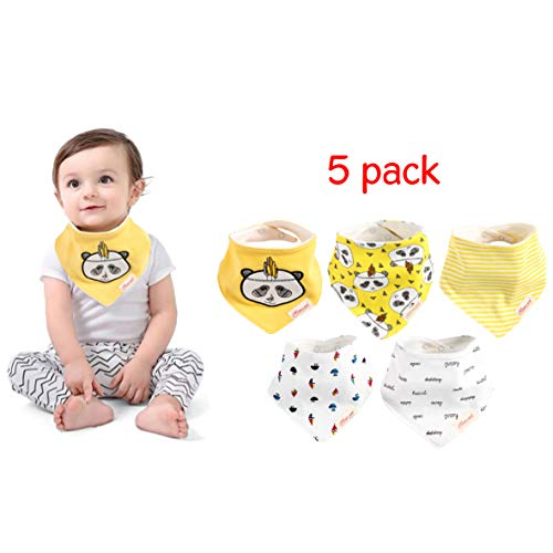 (Bandana Baby Drool Bibs for Girls,5-Pack Bib Set for Drooling and Teething,Organic Cotton,Soft and Absorbent,Baby Shower Gift for Newborn Babies and Toddlers)