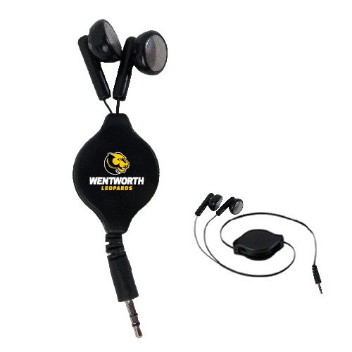 CollegeFanGear Wentworth Black Retractable Ear Buds 'Official Logo' by CollegeFanGear