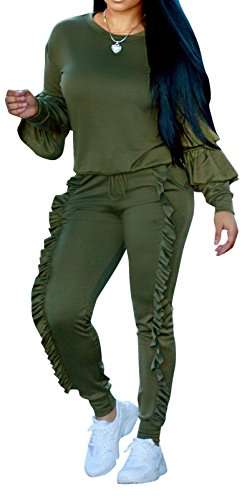 Speedle Womens Casual Long Sleeve 2 Pieces Outfits High Waist Pant Romper Jumpsuit For Ladies Tracksuit Sets Olive - Suits Ladies Piece Two For