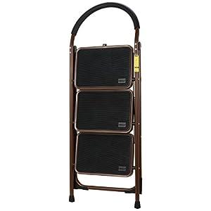 Ollieroo Step Stool EN131 Steel Folding 3 Step Ladder with Comfy Grip Handle Anti-slip Step Mon-marring Feet 330-pound Capacity Dark Brown