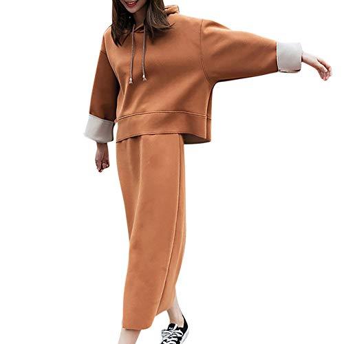 LISTHA Two-Piece Outfits Women Hooded Maxi Skirt Sportswear Sweatshirt Suits ()