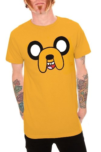 Adventure Time Men's Jake Face All Over T-shirt Yellow M
