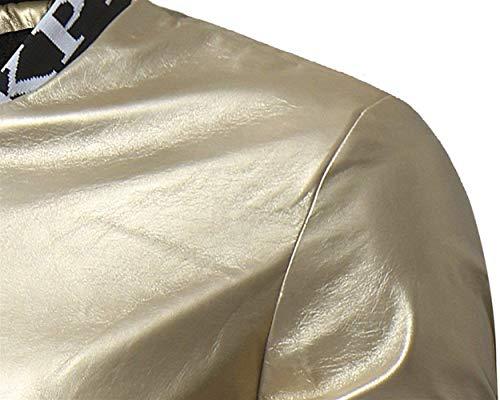 Giubbotto Giubbotto Lunghe con Cerniera Uomo in Basica Invernale Finta da da da Giacca Pelle Battercake Giacca Pelle Bomber Comodo Giacca A Bianca Aviator Cerniera Maniche in 60FdIq