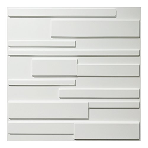 Art3d White Wall Panels Brick Design 3D Wall Panels, White, 12 Tiles 32 Sq - Panels Wall 3d Textured