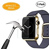 2 Pack - Apple Watch 38mm Tempered Glass Screen Protector, MCUK Anti-Scratch, 9H Hardness, Anti-Fingerprint, Bubble Free Screen Protector [Only Covers the Flat Area] for Apple Watch 38mm (38mm 2pack)