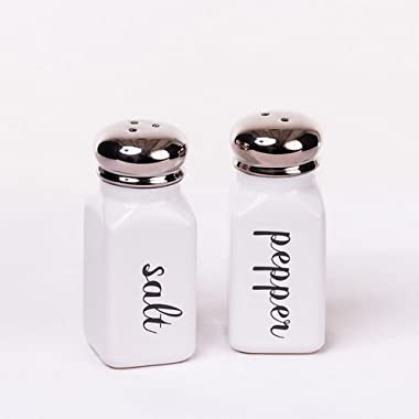 Classic Vintage Style Black and White Ceramic Salt & Pepper Shaker Set