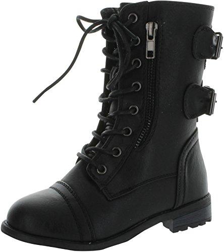 Link Mango-61K Girls Zipper Military Combat Boot,Black,4 (Combat Child Boots)