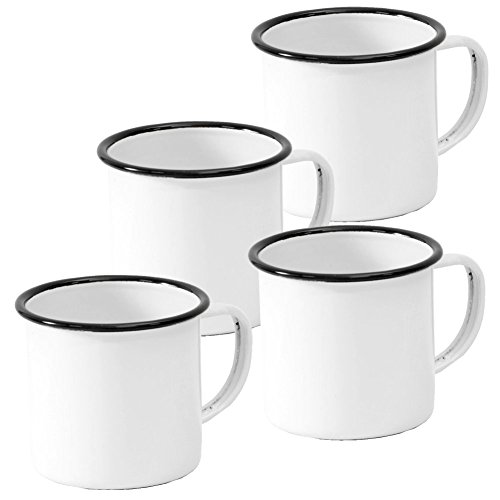 Crow Canyon Home Enamelware Mug, 12 oz, Vintage White with Black Rim (Set of ()