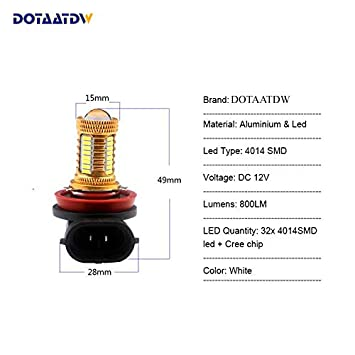2x 9005//HB3 9006//HB4 H8 H11 LED HeadLight Fog Lights 4014 CREE Chip Daytime Running Lights Car DRL Bulbs White Car Light Source Cacys-Store