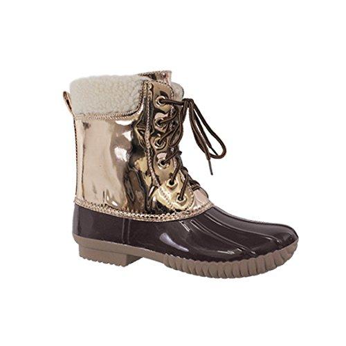 AXNY DYLAN-3 Frauen zwei Ton Lace Up Knöchel Regen Entenstiefel Metallisches Braun