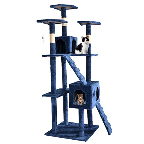 BestPet 9073 73-Inch Cat Tree Scratcher Play House Condo Furniture Toy Bed Post, Navy Blue (Cat Tree House)