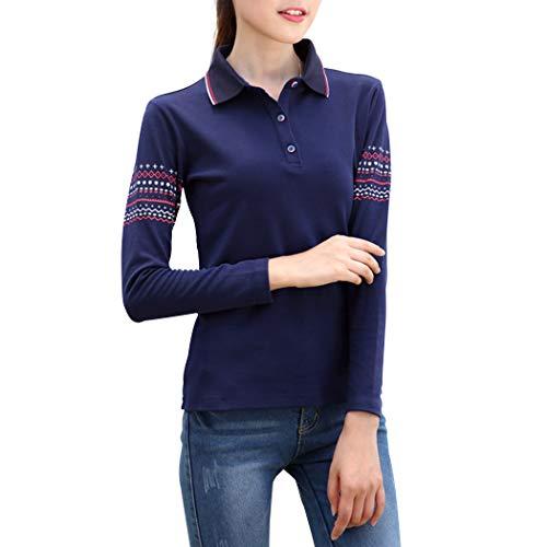 KUKAKI(クカキ) 長袖 ポロシャツ レディース かわいい おしゃれ ゴルフシャツ テニスウェア バトミントン スポーツ 細身シャツ トレッキングシャツ ボーダー ポロシャツ 綿 開襟シャツ 柄 紺 ローズレッド