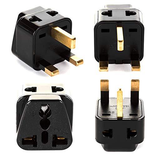 UK, Hong Kong Travel Adapter Plug, OREI Adaptor 2 in 1, For Botswana, England, UAE, Dubai - Safe Grounded Connection - Universal Socket - 4 Pack (Renewed)