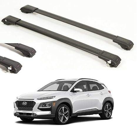 ALU TOP ROOF Rack Cross BAR Cross Rail Lockable FIT for Hyundai KONA 2017-UP