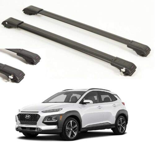 TOP ROOF Rack Cross BAR FIT for Hyundai KONA Black 2017-UP
