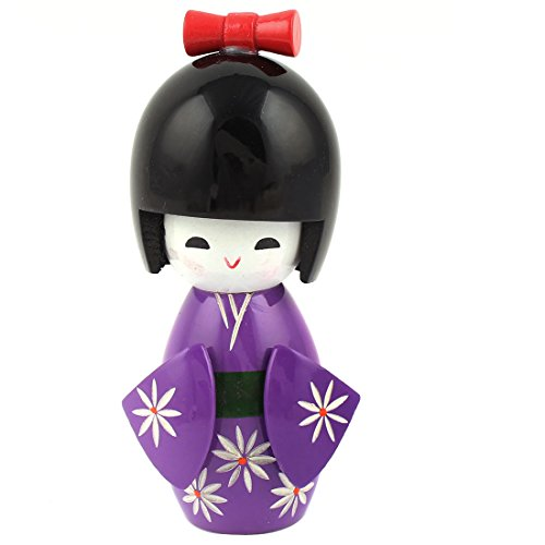 Flower Print Decor Japanese Kimono Kokeshi Modelling Doll Purple Black