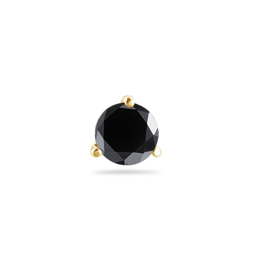 Cts of 3.50-4.00 mm Round AA Black Diamond Mens Stud Earring in 14K Yellow Gold 3//8 0.35-0.45