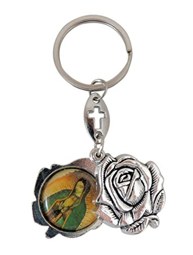 Religious Gifts Saint Jude and Our Lady of Guadalupe Silver Toned Base Rosebud Slide Keychain, 3 1/2 Inch