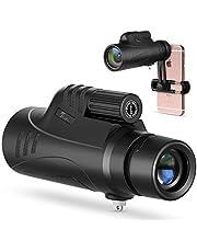 TELMU Telescopio Monocular para Movil BAK4 Prisma FMC Impermeable y Antivaho Monoculares de Largo Alcance para avistamiento de Aves >Caza >Camping (Incluye el Suporte de Movil
