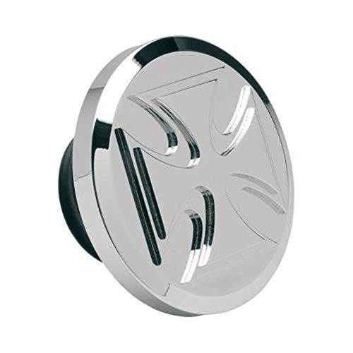 Chrome Derby Covers Billet (Novello Non-Vented Billet Gas Cap - Maltese - Chrome NIL-177)