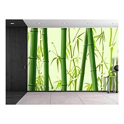 Original Creation, Marvelous Craft, Large Wall Mural Beautiful Green Bamboos Tree Trunks Vinyl Wallpaper Removable Decorating