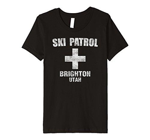 Brighton Ski (Kids Retro Official Brighton Utah Ski Patrol Premium T-Shirt 10 Black)