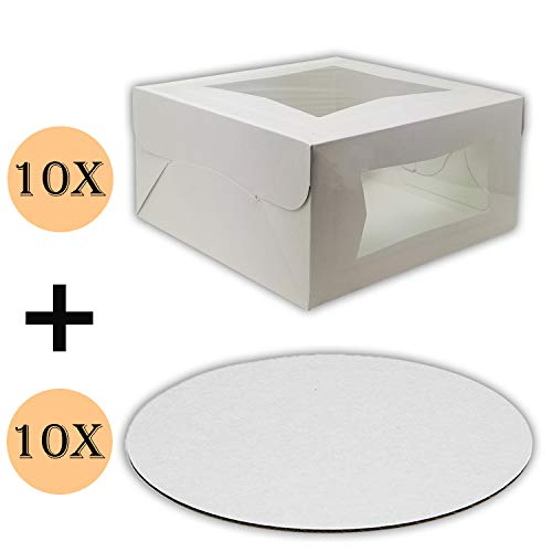 Cake Boxes 10 x 10 x 5 and Cake Boards 10 Inch, Bakery Box Has Double Window, Cake Board is Round, Cake Supplies, 10 Pack of Each. -