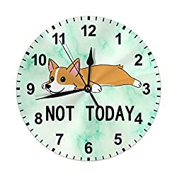 Funny Animal Design - Not Today Corgi Dog Green Marble Background - Decorative Wall Clock Silent Non Ticking 10 Inches Quality Quartz Battery Operated Round for Home/Office/Classroom/School