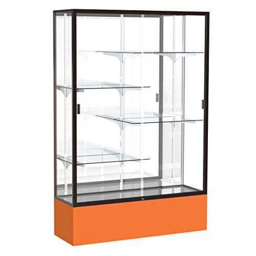 Waddell Spirit Mirror Back Display Case, 48W by 72H by 16''D, Champagne Gold Finish with Orange Base by Waddell