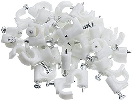 100 Pcs 8mm Wall Mount RG6 Coax Cat5 Cat6 Cable Wire Clips Nail Clamps Straps