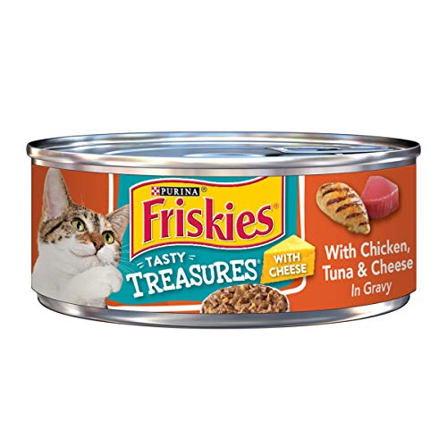 Purina Friskies Gravy Wet Cat Food; Tasty Treasures With Chicken, Tuna & Cheese - 5.5 oz. Can
