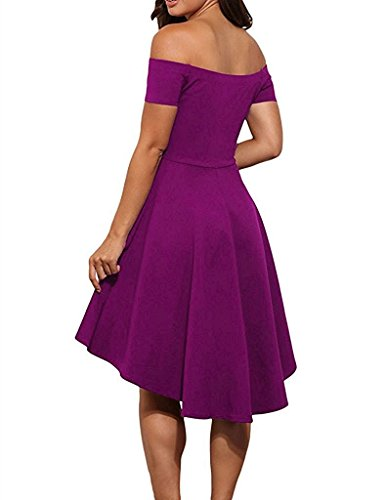 wlejkrgfhof Fashion Women's Large Swallowtail Dress of Maxi Off Shoulder Short Skirt (L, Dark purple) - Yoox Shopping
