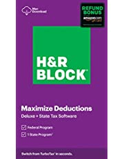 $28 » H&R Block Tax Software Deluxe + State 2020 with Refund Bonus Offer (Amazon Exclusive) [Mac Download]