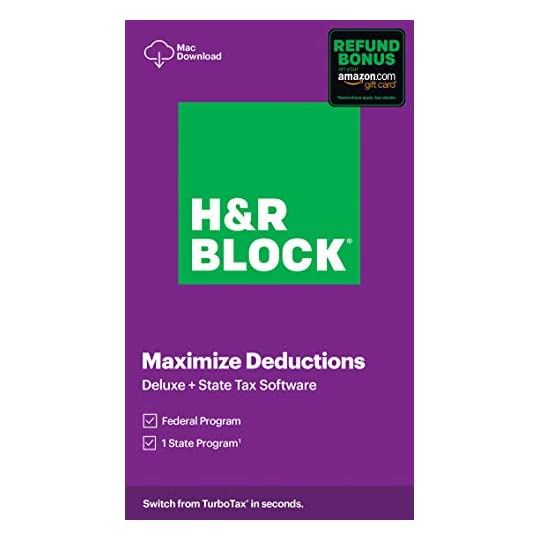 H&R Block Tax Software Deluxe + State 2020 with 3.5% Refund Bonus Offer (Amazon Exclusive) [Mac Download]