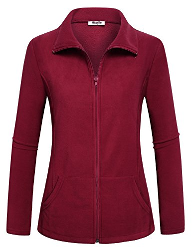 Hibelle Sport Coats for Women, Ladies Red Fleece Jacket Zip Outdoor Running Yoga Tops with Pocket Modesty Textured Boutique Clothings Casual Fall Wear Maroon Wine XXL 2XL