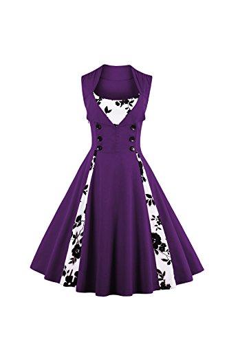 Damen Floral Jahrgang Rockabilly Cocktail Partei Kleid Purple 8zDI7 ...