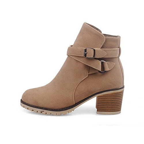 Closed Frosted Buckle Boots Kitten Heels Women's Allhqfashion Solid Apricot Toe Round Ra0wE6Zqx