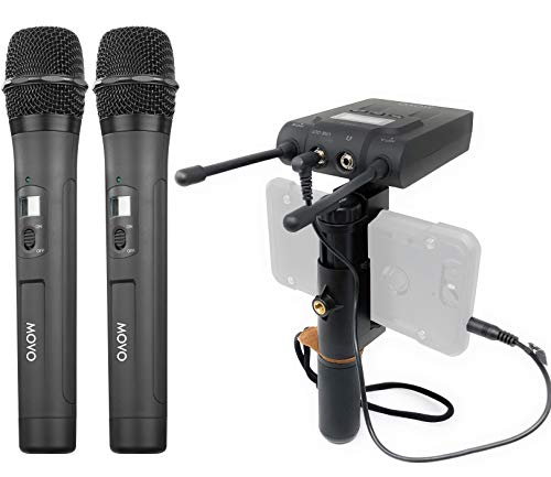 MOVO UNIVERSAL PRO 330FT Wireless Smartphone Microphone for Video Recording | With Phone Rig for Interviews, Podcasting & ENG | 96 System Channels | Compatible with iPhone, iPad & Android (DUAL) - Multimedia Receiver Pro Wireless