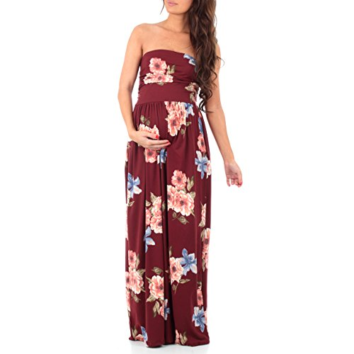 (Women's Strapless Ruched Maxi Tube Maternity Dress with Pockets by Mother Bee - Made in USA (Extra Large, Floral Burgundy Blush))