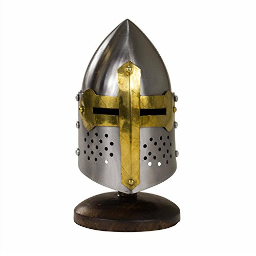 SI Miniature 14th Century Gilded Sugar Loaf Visored Display Helmet with Stand ()