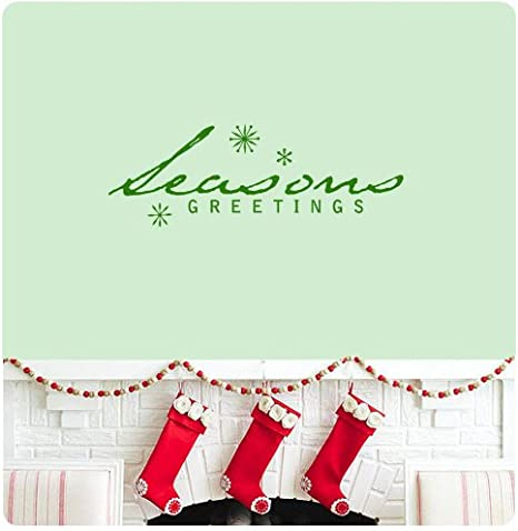 Seasons Greetings Wall Decal Sticker Merry Christmas Season S Greetings Happy Holidays Sign Door Art Color Choices Home Kitchen